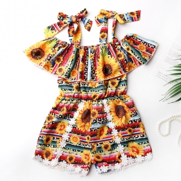 Lovely Bohemian Print Multicolor Girl One-piece Romper