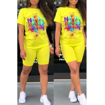 Lovely Leisure Letter Print Yellow Two-piece Shorts Set