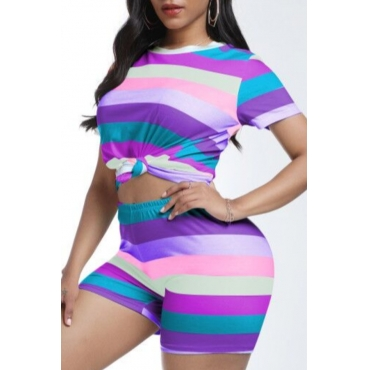 lovely Casual Striped Purple Two-piece Shorts Set