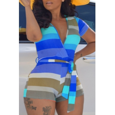 lovely Trendy Striped Blue One-piece Romper