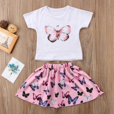 lovely Leisure Butterfly Print White Girl Two-piece Skirt Set