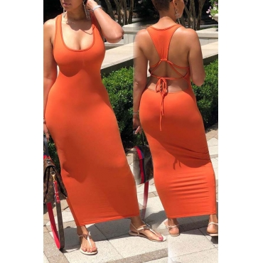 lovely Sexy Backless Orange Red Ankle Length Plus Size Dress