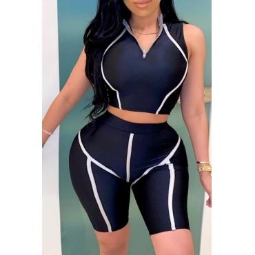 lovely Sportswear Zipper Design Black Plus Size Two-piece Shorts Set