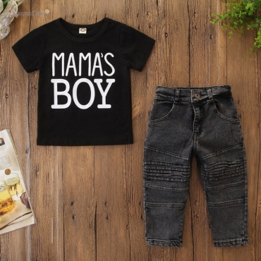 lovely Leisure Letter Black Boy Two-piece Pants Set
