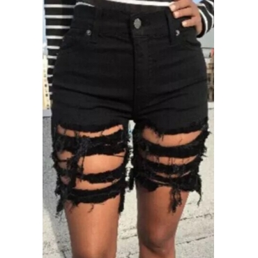 lovely Stylish Hollow-out Black Shorts