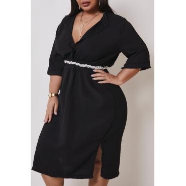 lovely Trendy Deep V Neck Black Knee Length Plus Size Dress