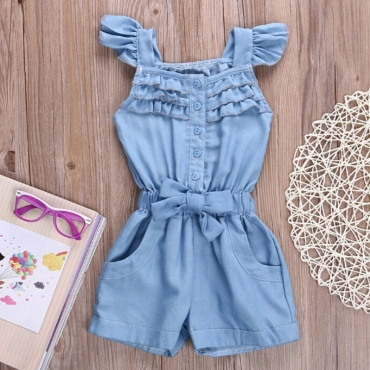 lovely Sweet Buttons Design Baby Blue Girl One-piece Romper
