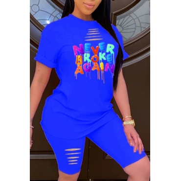 lovely Leisure O Neck Letter Print Blue Two-piece Shorts Set