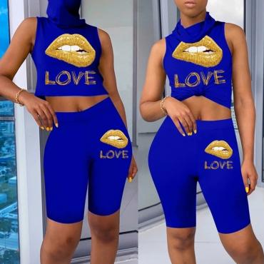 lovely Sportswear Lip Print Blue Plus Size Two-piece Shorts Set
