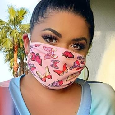 Lovely Stylish Butterfly Print Pink Face Mask