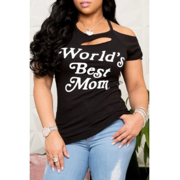 lovely Casual O Neck Letter Print Black T-shirt