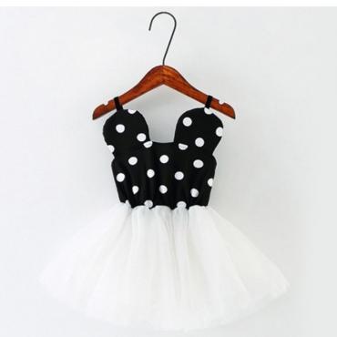 lovely Sweet Print Patchwork White Girl Knee Length Dress