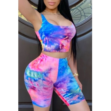 Lovely Leisure Tie Dye Blue Two Piece Shorts Set