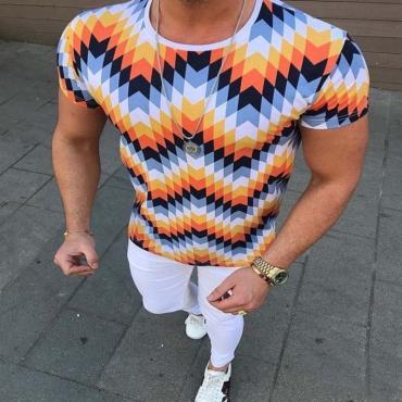 lovely Trendy O Neck Print Orange T-shirt