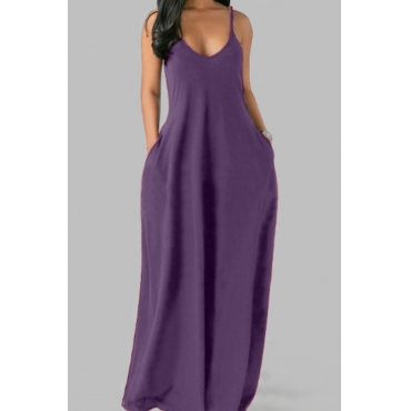 lovely Leisure Pocket Patched Purple Maxi Plus Size Dress