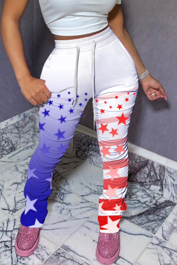 lovely Independence Day Casual Elastic Waist Print White Pants