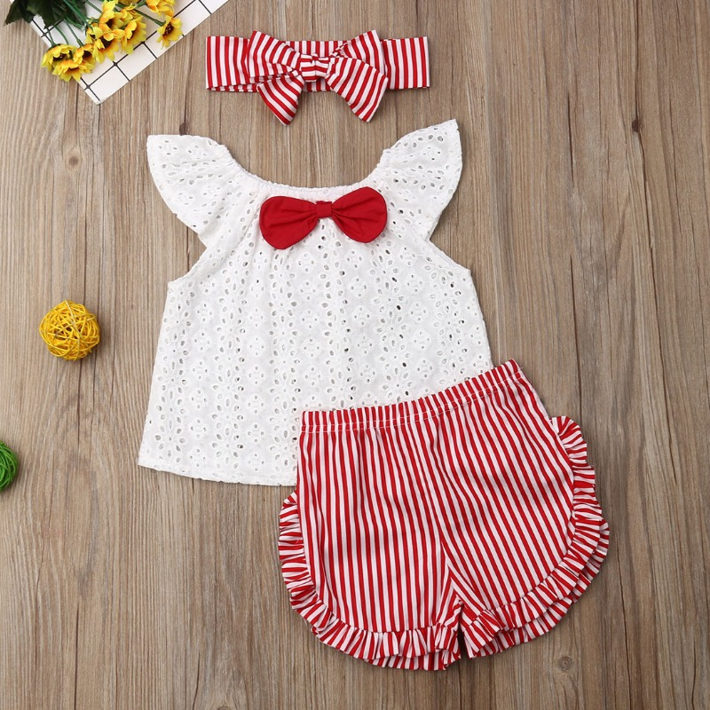 lovely Sweet Striped White Girl Two-piece Shorts Set