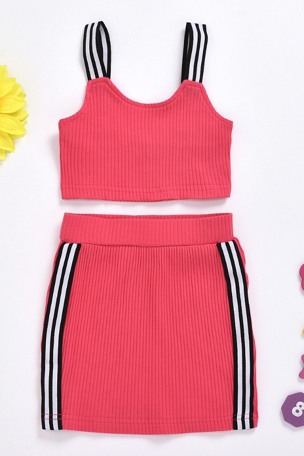 lovely Trendy Patchwork Rose Red Girl Two-piece Skirt Set