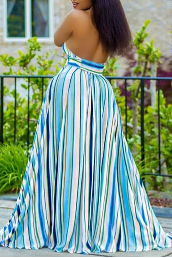 Lovely Bohemian Striped Print Multicolor Maxi Dres