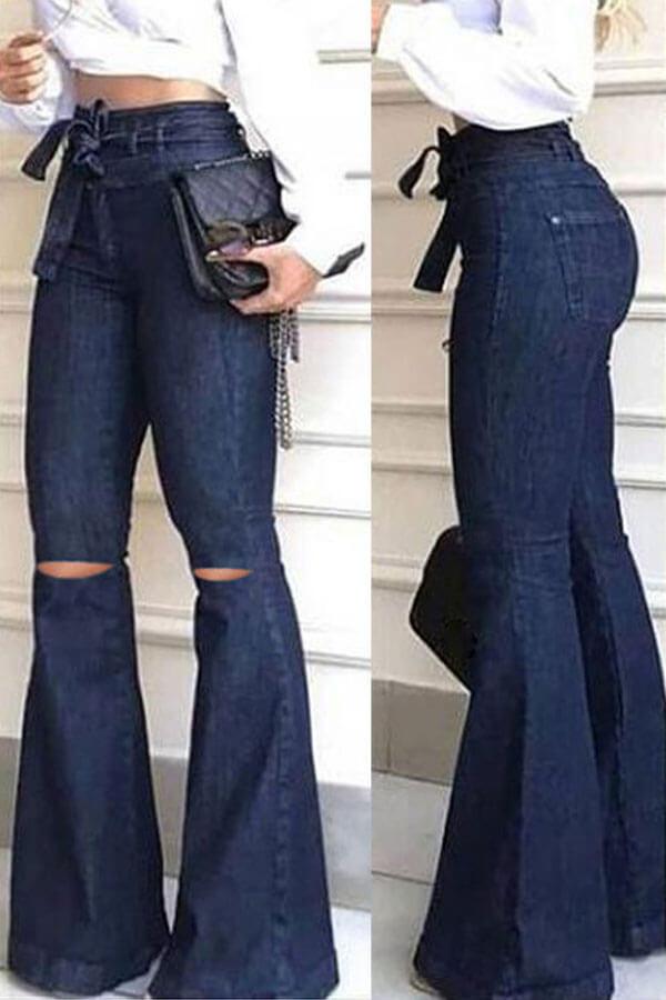 Lovely Casual High-waisted Zipper Broken Holes Deep Blue Jeans
