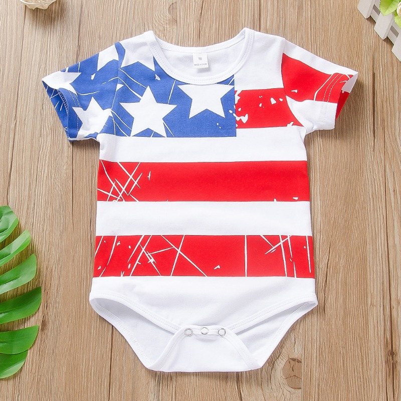 Boys Romper lovely Independence Day Casual Print White Boy One-piece Romper фото