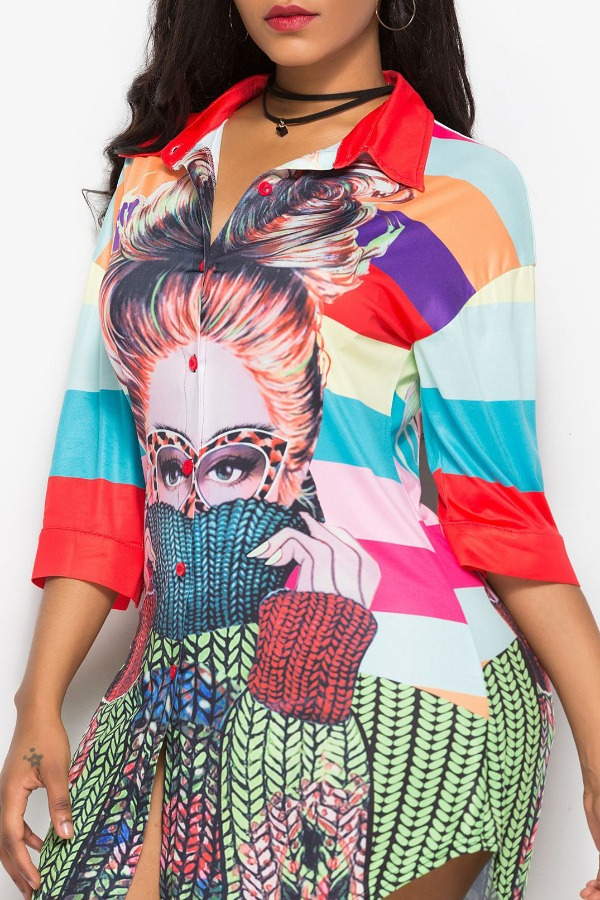 Lovely Casual Print Multicolor Mini Plus Size Dress