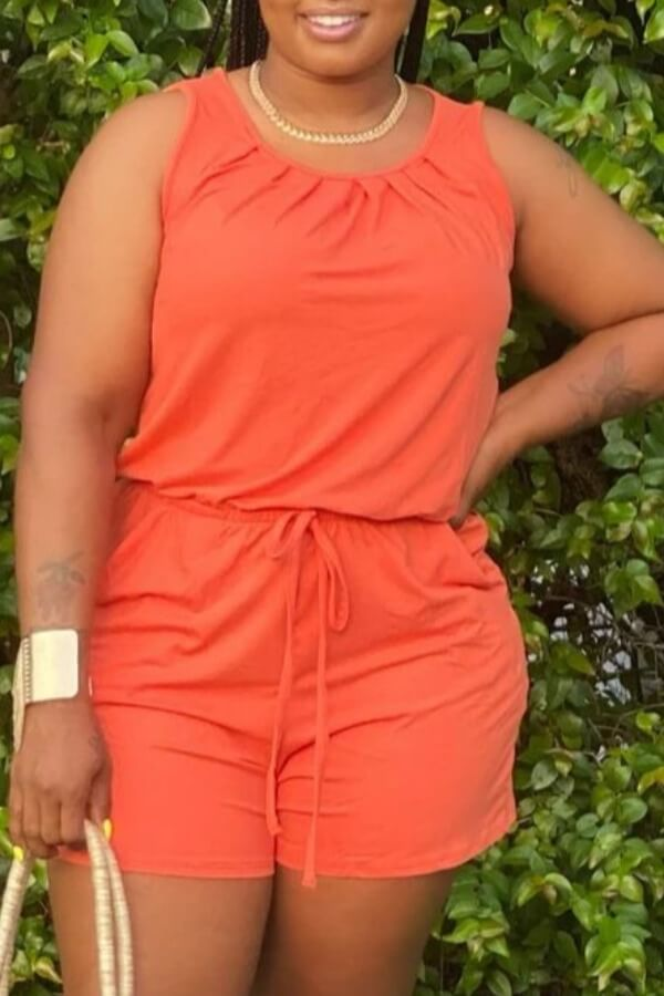 Rompers Lovely Casual O Neck Drawstring Design Orange One-piece Romper фото