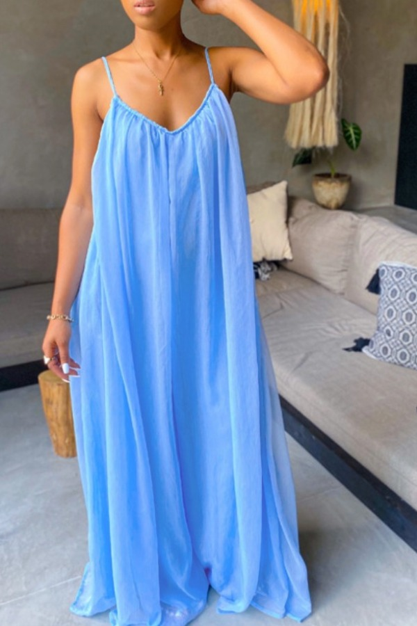 Lovely Casual Loose Fold Design Blue Maxi Plus Size Dress
