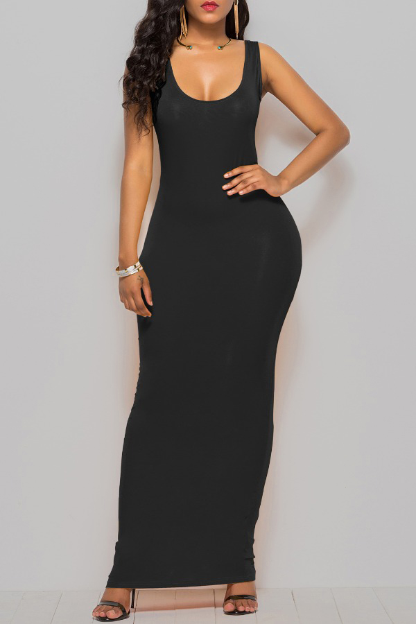 Lovely Casual Basic Black Ankle Length Plus Size Dress фото