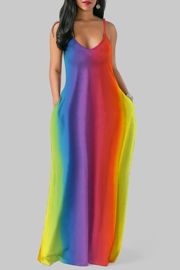 Lovely Casual Spaghetti Strap Striped Print Multicolor Maxi Plus Size Dress фото