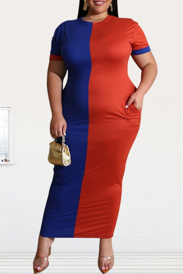Lovely Casual Patchwork Red Ankle Length Plus Size Dress фото