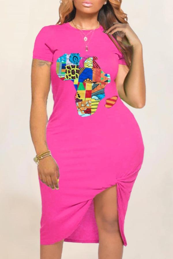 Plus Size Dress lovely Casual O Neck Print Pink Knee Length Plus Size T-shirt Dress фото