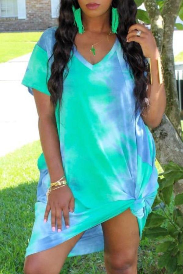 Lovely Casual V Neck Tie-dye Green Knee Length Dress фото