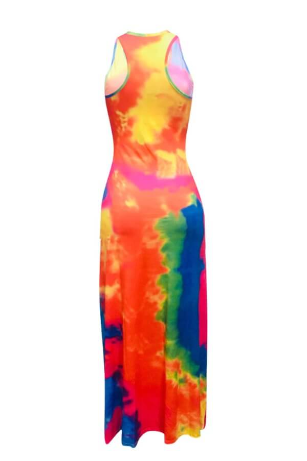 Lovely Casual Tie-dye Pink Ankle Length Dress