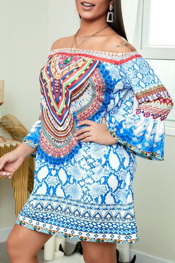 Lovely Ethnic Print Blue Mini Dress фото