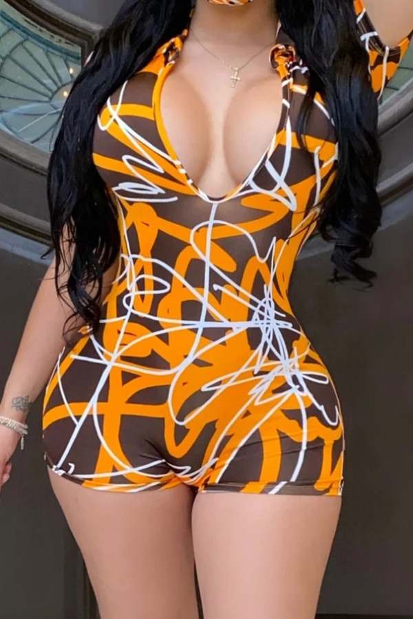 Rompers Lovely Trendy Print Yellow One-piece Romper фото