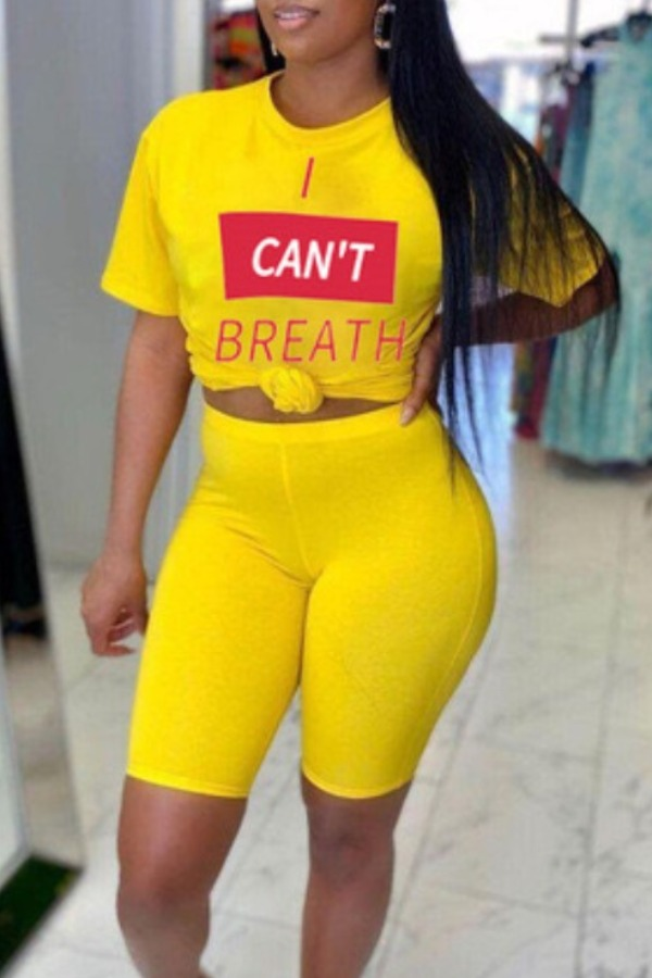 Lovely Casual Letter Print Yellow Two-piece Shorts Set фото
