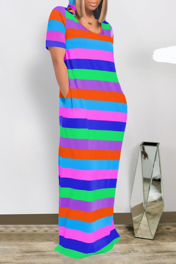 Lovely Casual Striped Blue Maxi Dress фото