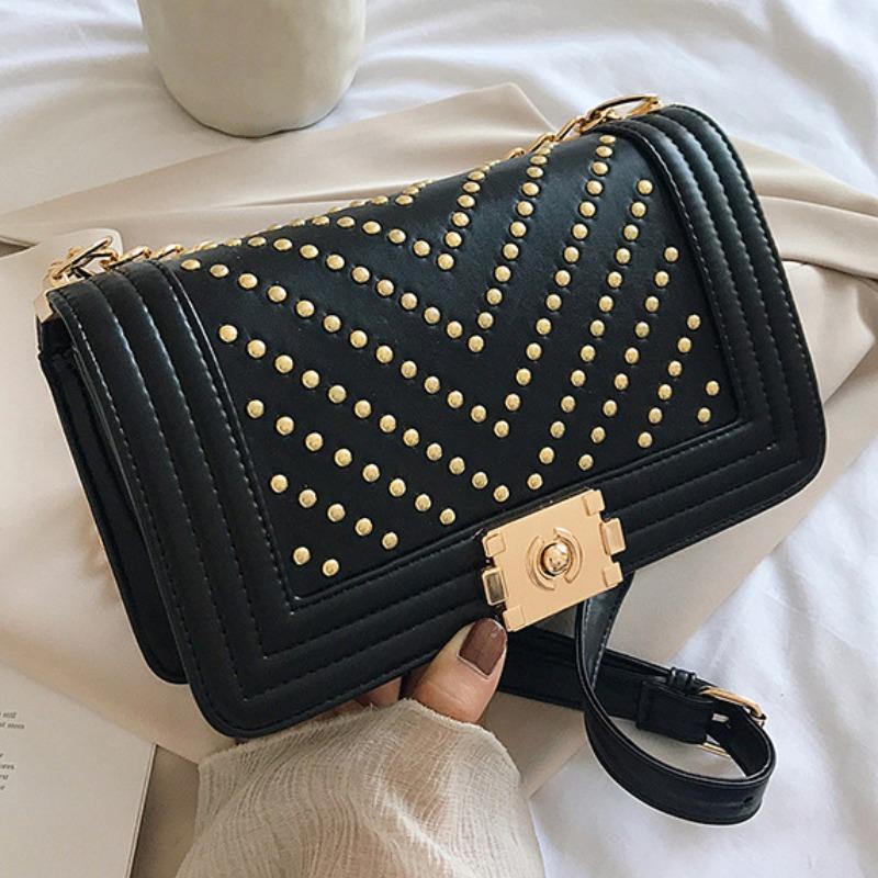 lovely Stylish Chain Strap Black Crossbody Bag