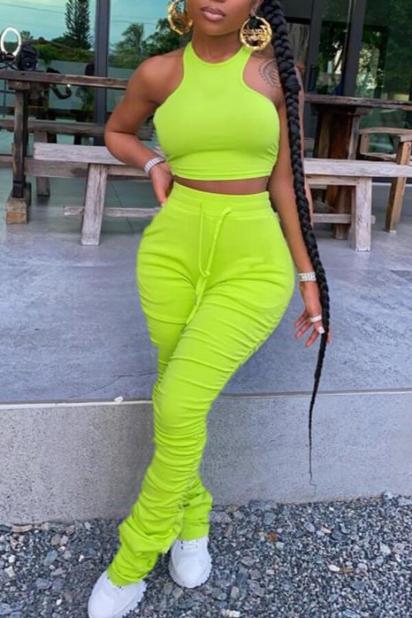 lovely Stylish Fold Design Green Two-piece Pants Set
