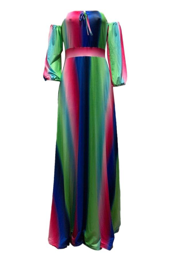 Lovely Bohemian Striped Green Maxi Plus Size Dress