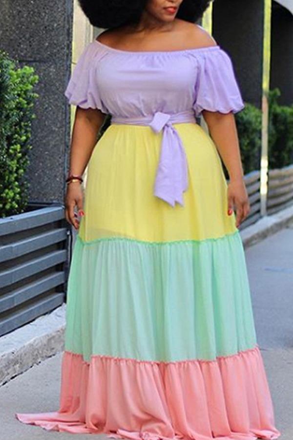 Lovely Bohemian Color-lump Patchwork Multicolor Maxi Plus Size Dress