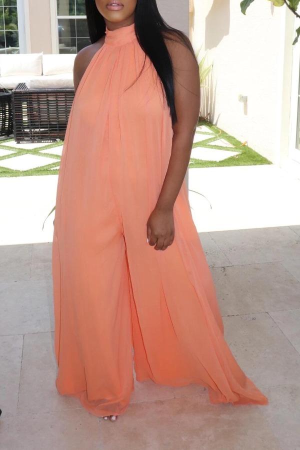 lovely Stylish Backless Orange Plus Size One-piece Jumpsuit