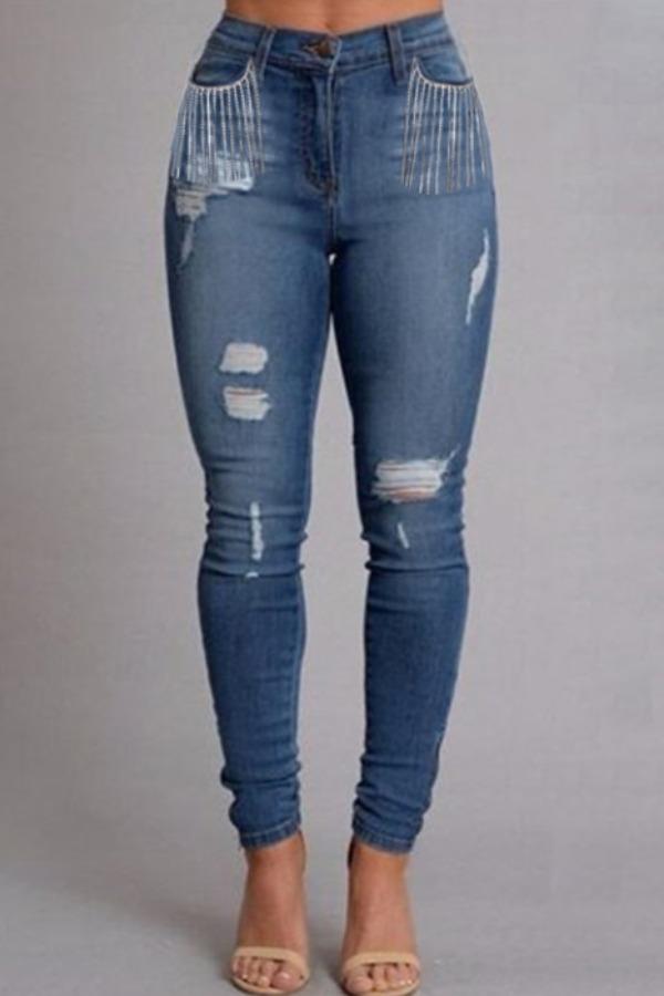 Lovely Trendy Broken Holes Blue Jeans фото