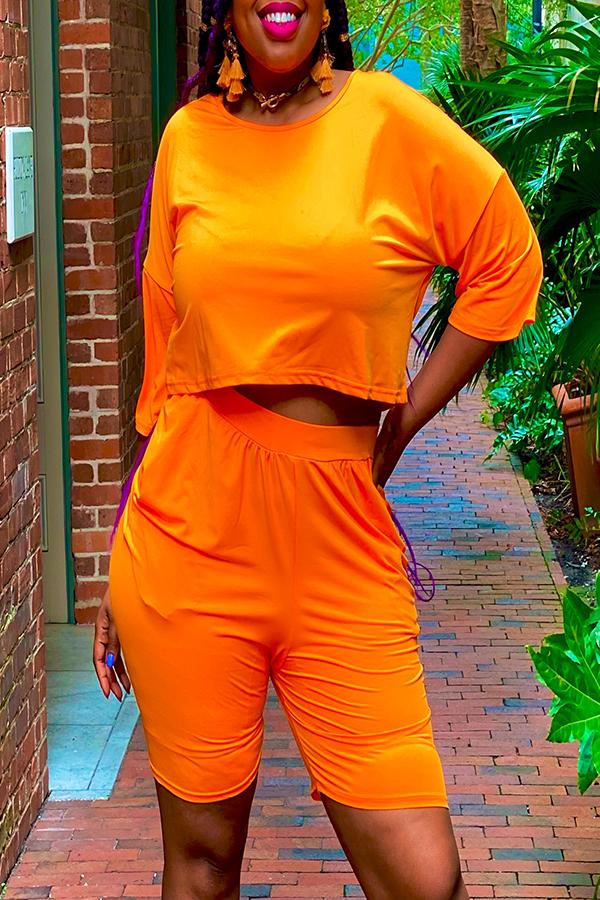 Lovely Leisure Fold Design Croci Plus Size Two-piece Shorts Set