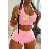 lovely Sexy U Neck Letter Print Pink Two-piece Sho