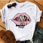 lovely Leisure O Neck Lip Print Pink Plus Size T-s