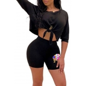 lovely Casual O Neck Knot Design Black Two-piece S