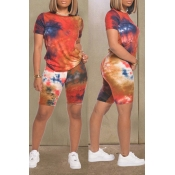 lovely Casual O Neck Tie-dye Print Red Two-piece S