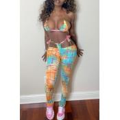 lovely Bohemian Print Lace-up Two-piece Pants Set